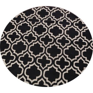 Online Reviews Puckett Moroccan Trellis Oriental Hand-Tufted Wool Black/White Area Rug By Everly Quinn