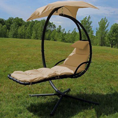 Macie Hanging Chaise Lounger with Stand Freeport Park Color: Beige