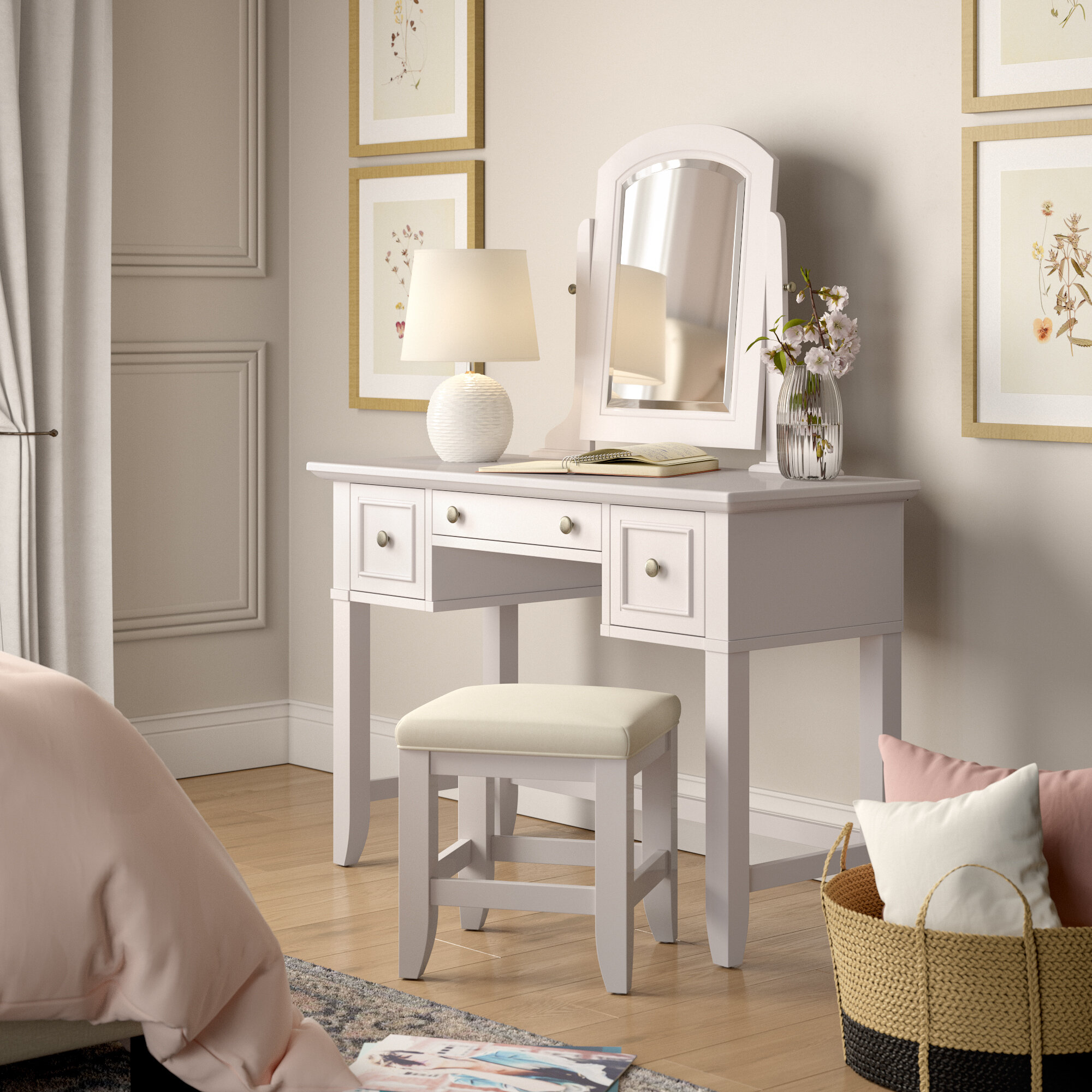 Peachy Birch Lane Heritage Barnard Vanity Stool Set With Mirror Caraccident5 Cool Chair Designs And Ideas Caraccident5Info