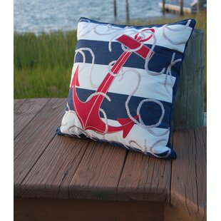 Compare Sudie Anchor Embroidered Outdoor Throw Pillow ByLongshore Tides