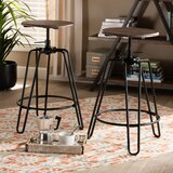 Mena Swivel Adjustable Height Bar Stool (Set of 2) by Williston Forge