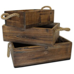 Wooden 3 Piece Box Set With Rope Handles