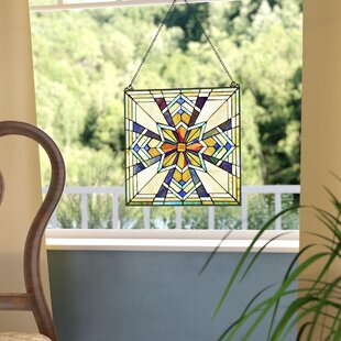 Northern Star Tiffany Style Stained Glass Window Panel by Fleur De Lis Living