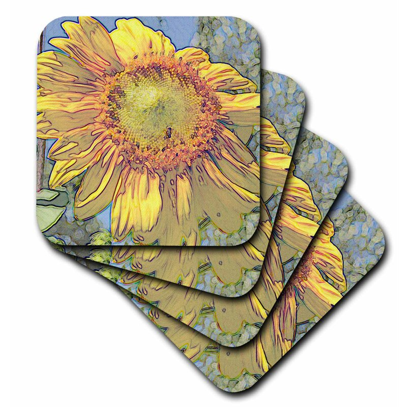 August Grove Sunflower Art Macro Of A Flower Floral Art Nature Ceramic Tile Coaster Wayfair