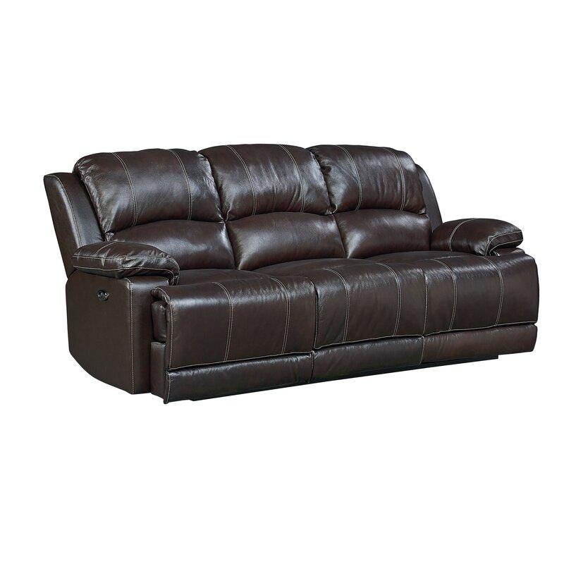 Red Barrel Studio Garlock Leather Reclining Sofa & Reviews | Wayfair