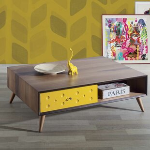 Ternes Solid Walnut Wood Coffee Table with Storage