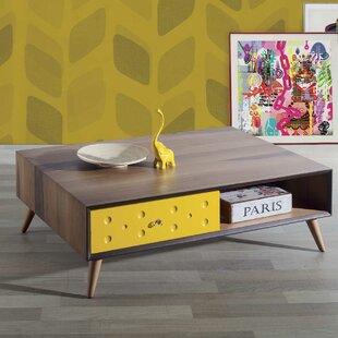 Ternes Solid Walnut Wood Coffee Table with Storage by Brayden Studio