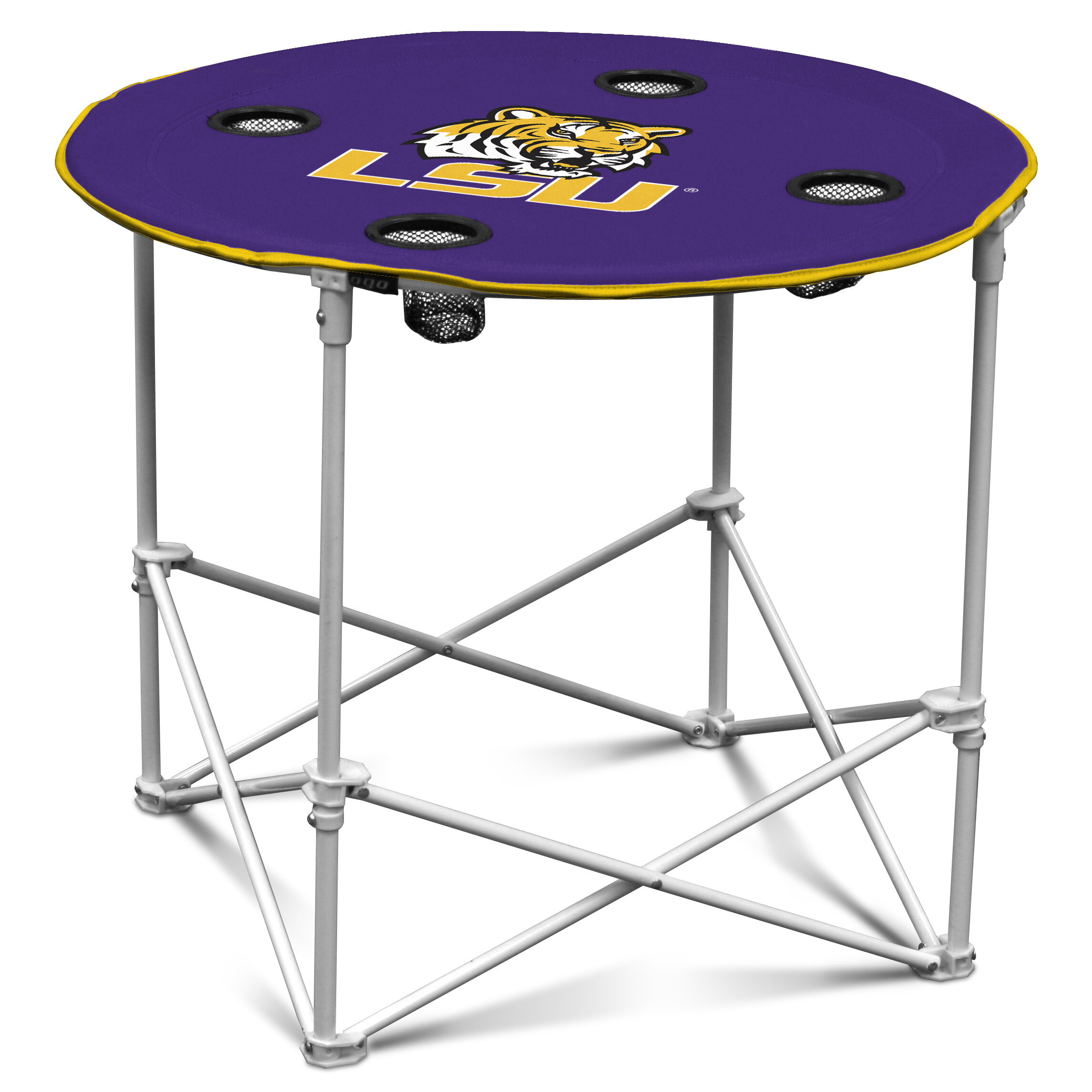 Polyester with Metal Frame 4 Mesh Cup Holder... Preferred Nation Folding Table