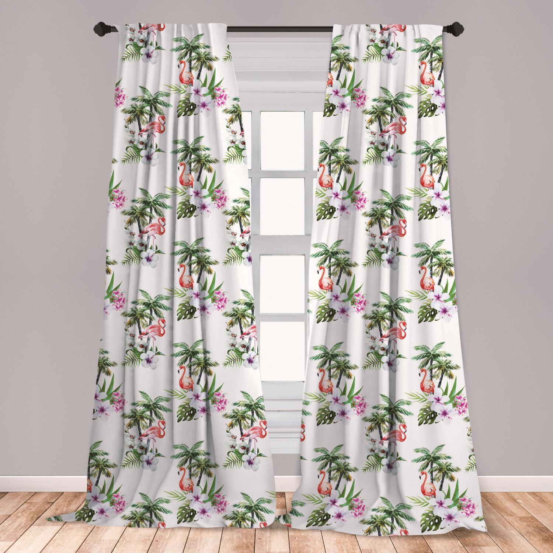 East Urban Home Flamingo Floral Room Darkening Rod Pocket Curtain Panels Wayfair