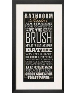 Bathroom Rules Framed Textual Art