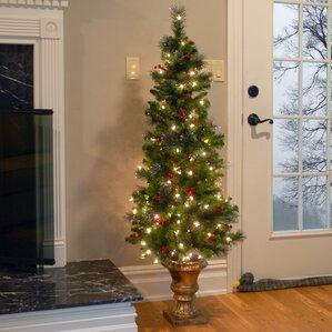 Slim Christmas Trees Artificial Pre Lit Led