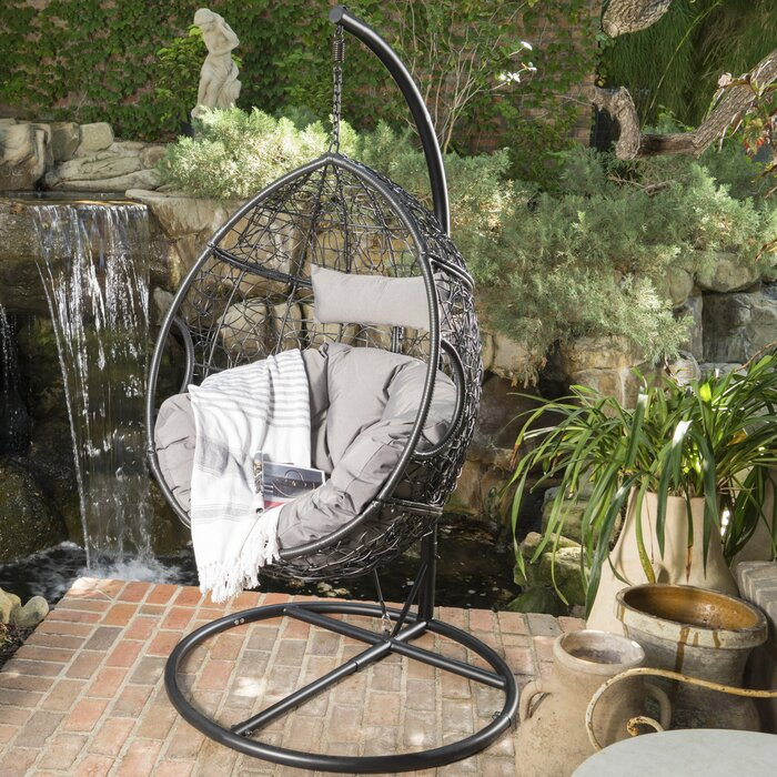 Nice Dawson Outdoor Wicker Basket Swing Chair With Stand