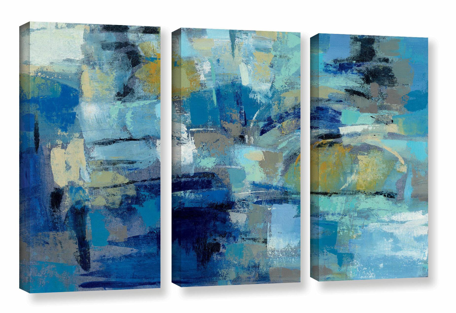 Brayden Studio Ultramarine Waves Iii 3 Piece Painting Print On Wrapped Canvas Set Reviews Wayfair