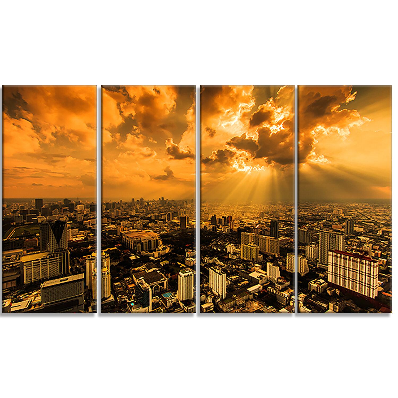 Designart Light Shining Through Dark Clouds 4 Piece Photographic Print On Wrapped Canvas Set Wayfair