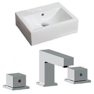 Compare & Buy Ceramic 20 Wall Mount Bathroom Sink with Faucet and Overflow ByAmerican Imaginations