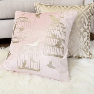 Truet Bird Cage Velvet Throw Pillow