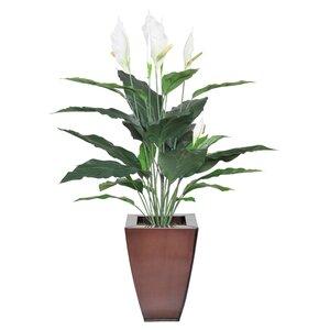 Faux Peace Lily Floral Arrangement in Planter