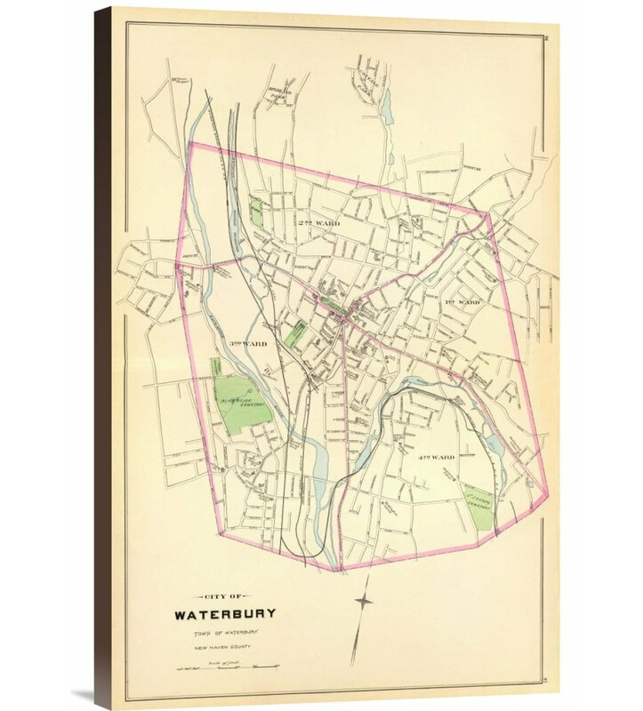 Global Gallery Waterbury Connecticut 1893 By D H Hurd And Co Graphic Art On Wrapped Canvas Wayfair