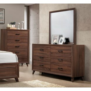 Lusk 6 Drawer Double Dresser with Mirror