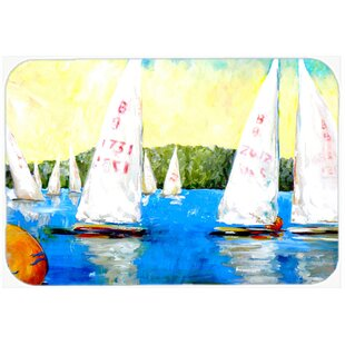 Sailboats Round the Mark Glass Cutting Board