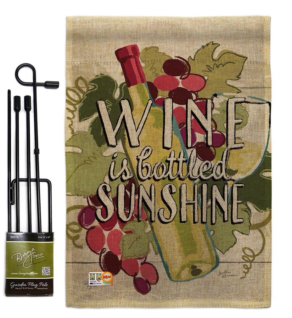 Breeze Decor Wine Is Sunshine Happy Hour And Drinks Impressions 2 Sided Burlap 19 X 13 In Flag Set Wayfair