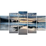 'Beautiful Porthcothan Bay' 5 Piece Photographic Print on Wrapped Canvas Set