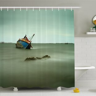 Ocean Decadent Derelict Fishing Boat Bow in Thailand Day Light Sunrise Shower Curtain Set
