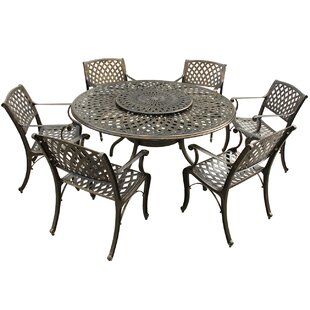 Fleur De Lis Living Cassady Mesh Lattice 7 Piece Dining Set