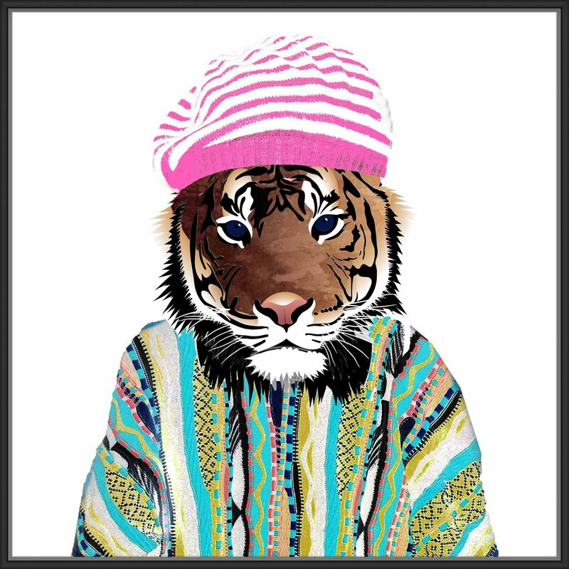 Jbass Grand Gallery Collection Hippie Tiger Framed Graphic Art Print On Wrapped Canvas