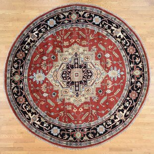 Affordable Price One-of-a-Kind Fluellen Hand-Knotted Oval 9'10 x 9'9 Wool Red/Black Area Rug By Isabelline