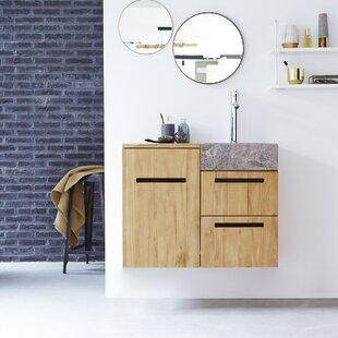 Line Solid Teak 830mm Wall Hung Single Vanity Unit By Tikamoon