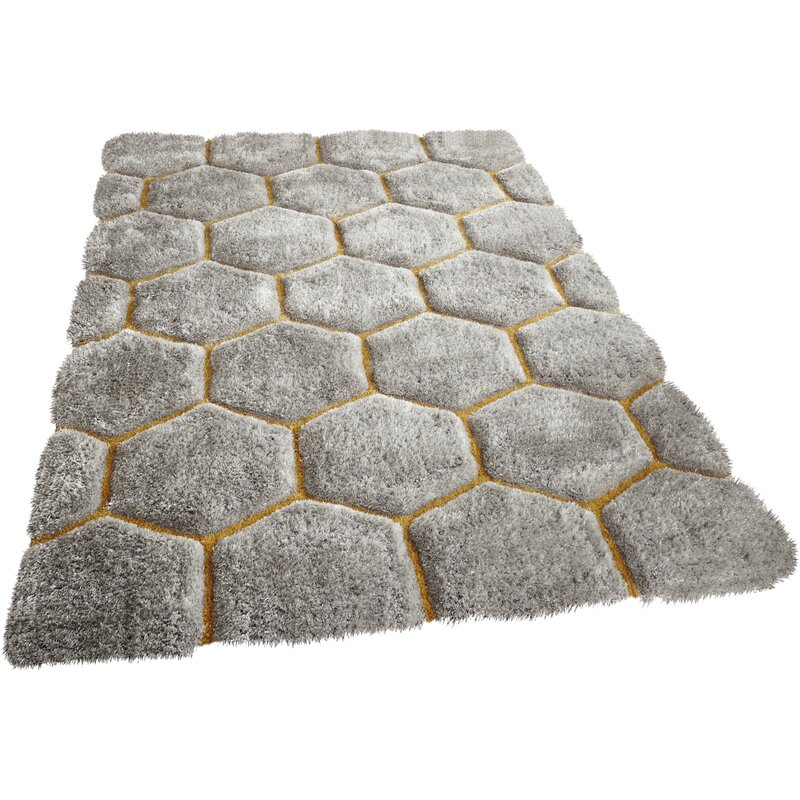 17 Stories Mindy Hand Tufted Grey Yellow Area Rug