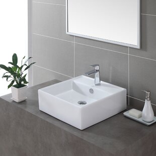Kraus Ceramic Ceramic Square Vessel Bathroom Sink with Overflow