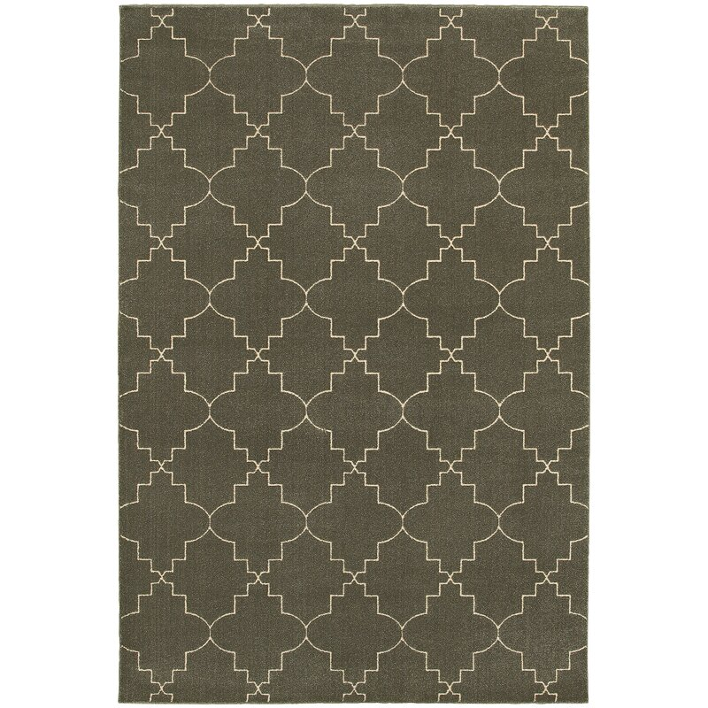 Alcott Hill Allen Gray/Ivory Area Rug, Size: Rectangle 910 x 1210