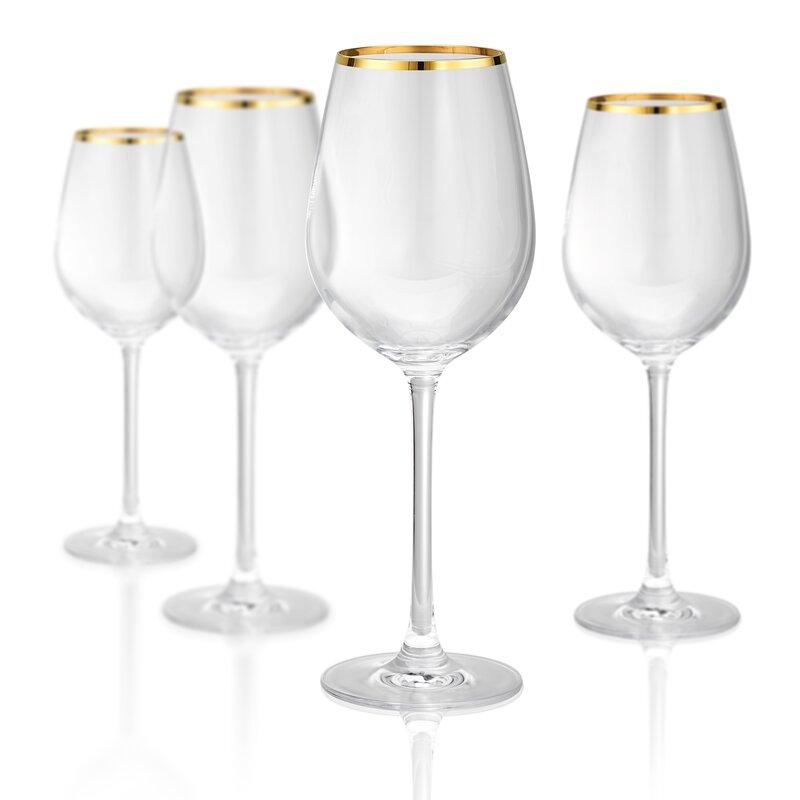Gold Band White 15 oz. Wine Glass