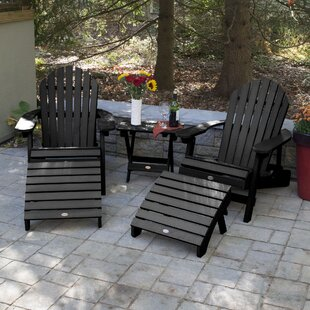 Deerpark Plastic/Resin Folding Adirondack Chairs with Table