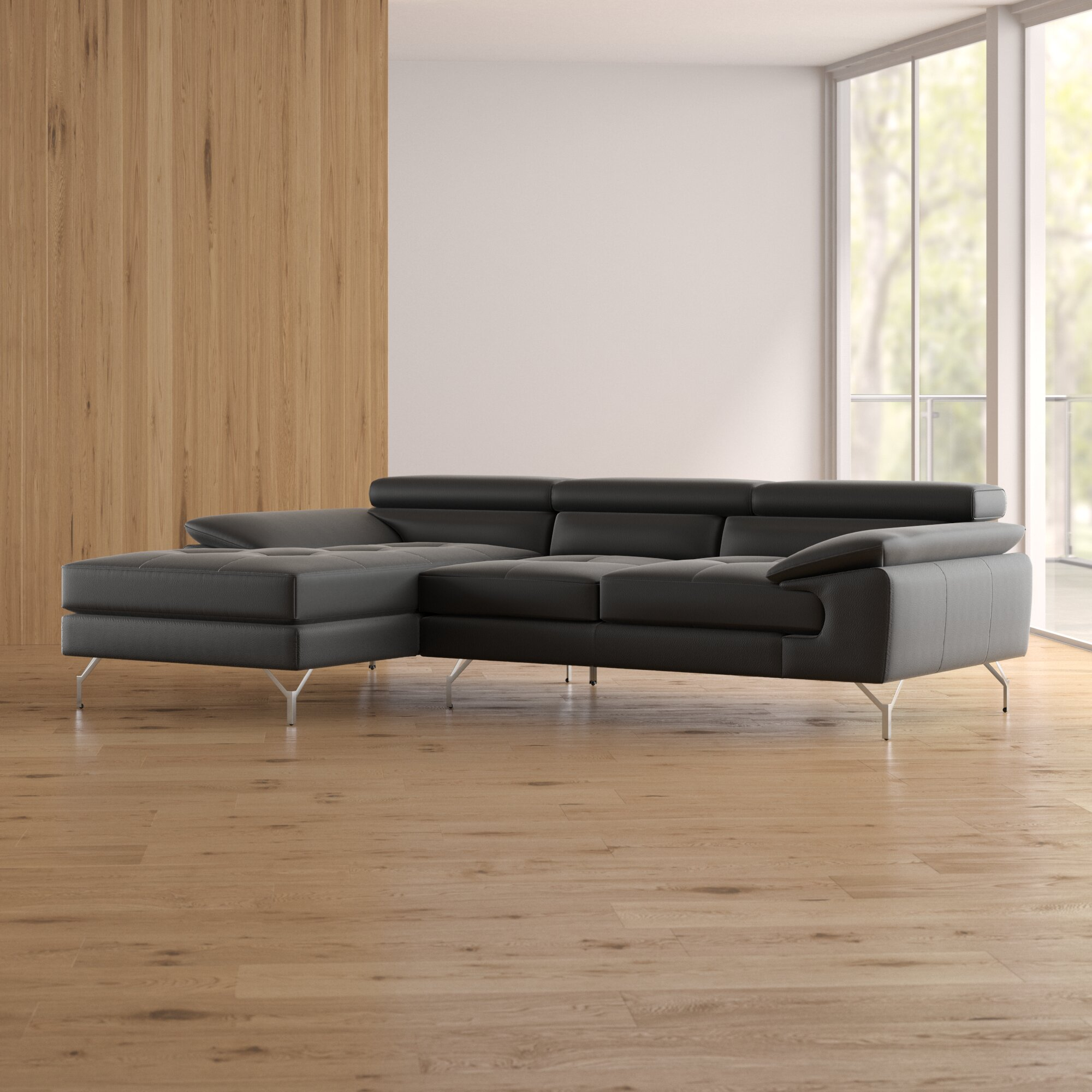 Wade logan courtdale leather sectional reviews wayfair