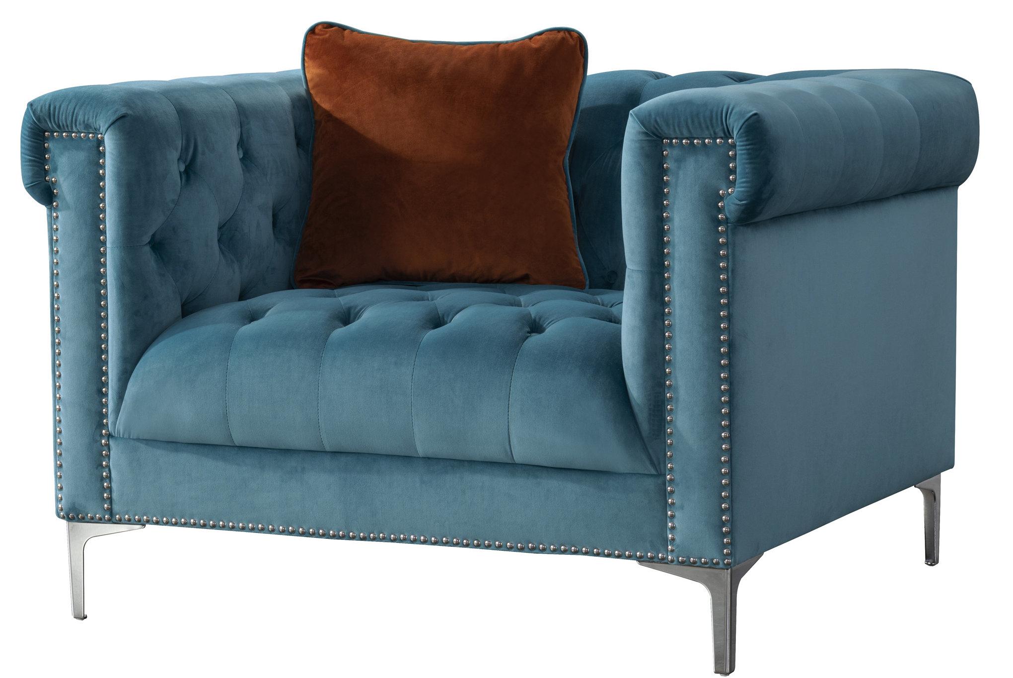 acanva vintage tufted velvet armchair