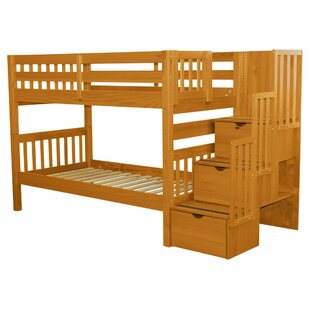 Bedz King Stairway Twin Over Twin Bunk Bed with Storage
