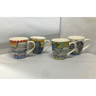 Tieman Assorted Italy Design Bone China Coffee Mug Set (Set of 4)