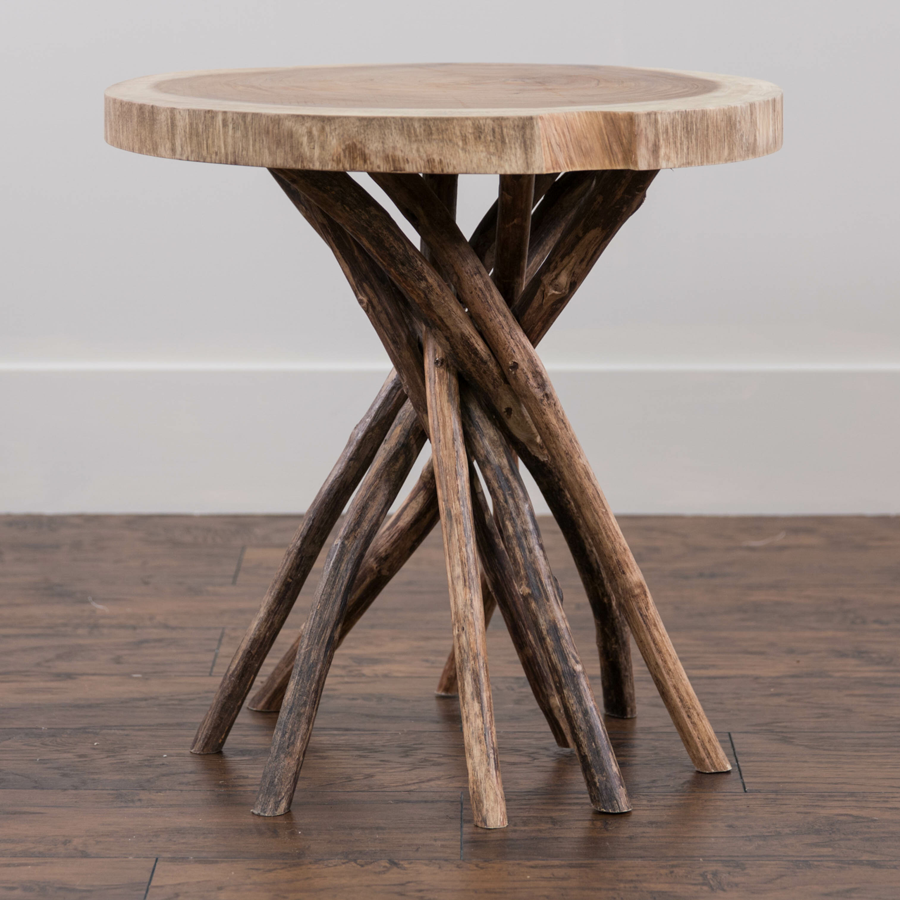 Picture of: Mistana Aloysius Solid Wood Tree Stump End Table Reviews Wayfair