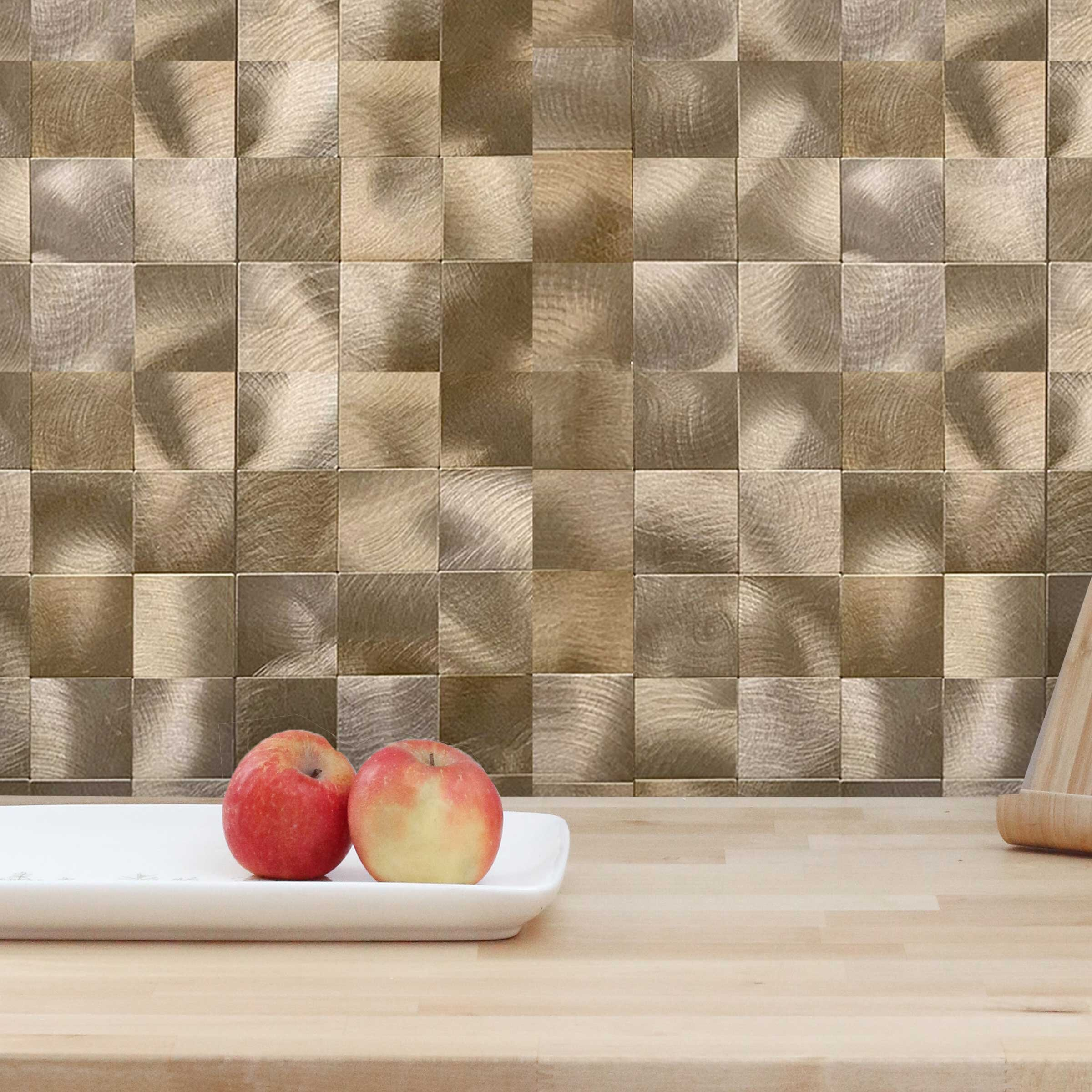 Design Is Personal 12 X 12 Pvc Peel Stick Mosaic Tile In Copper Gold Reviews Wayfair