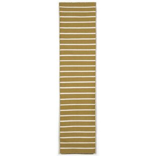 Affordable Price Ranier Hand-Woven Pinstripe Khaki Indoor/Outdoor Area Rug By Beachcrest Home
