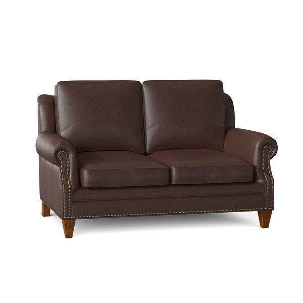 Bradington Young Roe Genuine Leather 63 Rolled Arm Loveseat Wayfair