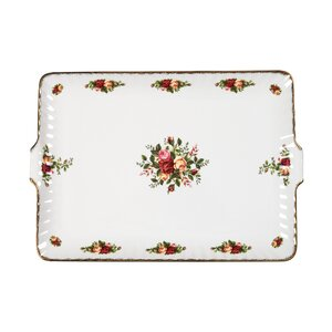 Old Country Roses Fluted Rectangular Serving Tray