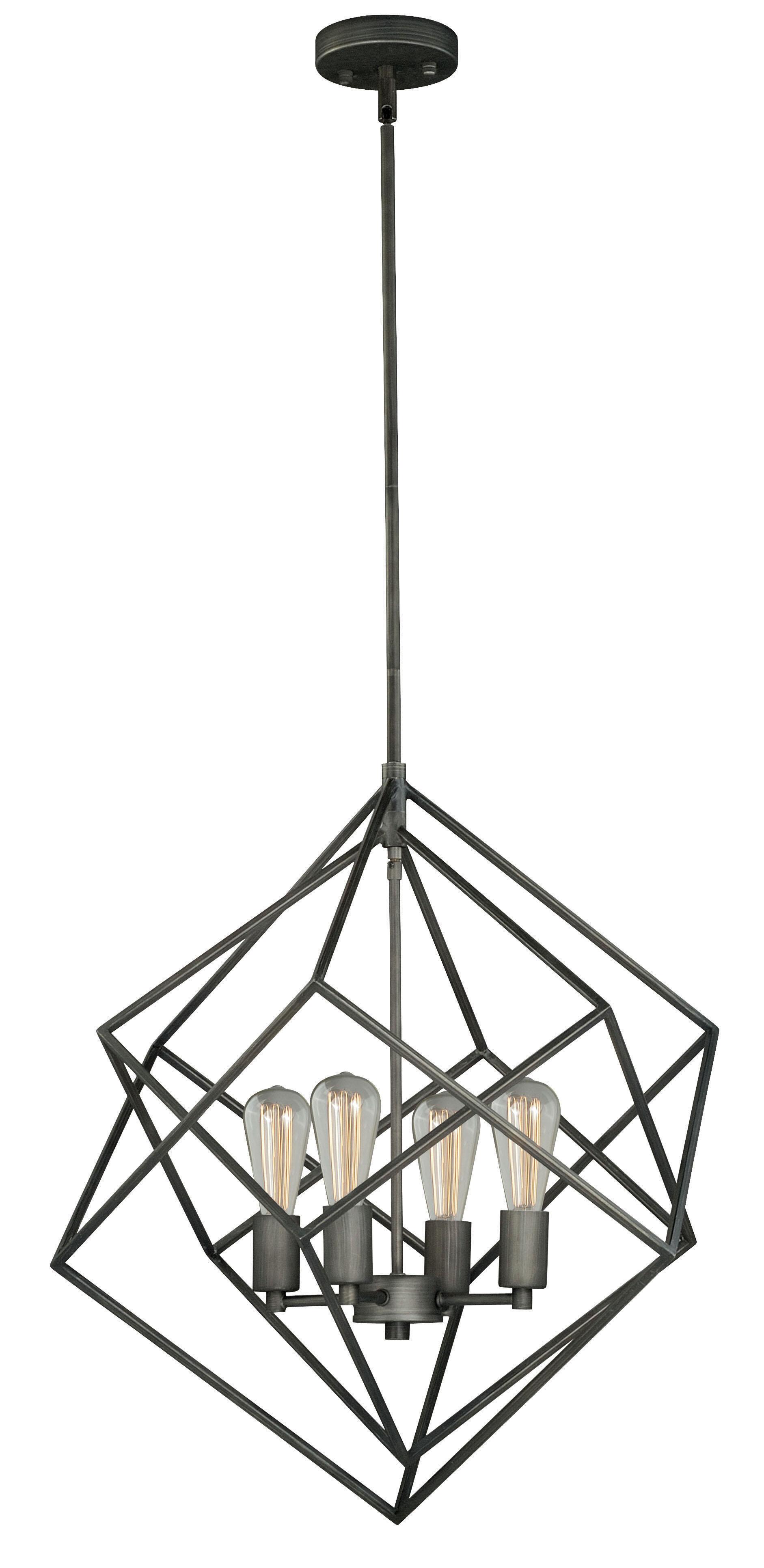 Aale 4 Light Unique Geometric Chandelier
