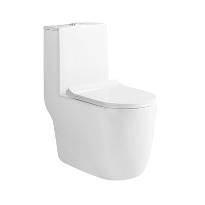 BestLivingInternational Agrius Dual Flush Elongated One-Piece Toilet (Seat Included)
