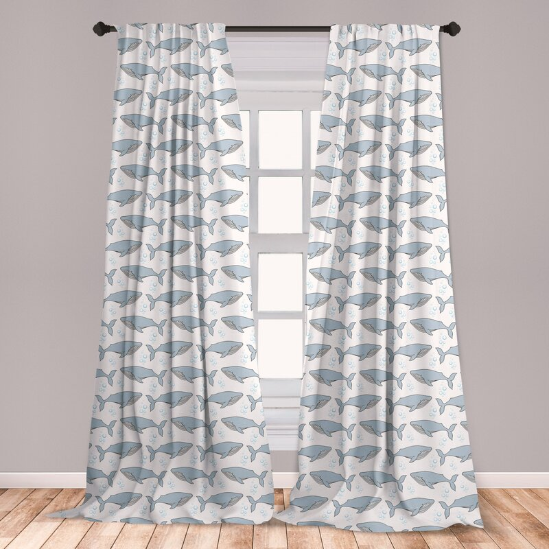East Urban Home Ambesonne Whale Window Curtains Cartoon Whales On Bubbles Background Giant Creatures Of The Subaquatic World Lightweight Decorative Panels Set Of 2 With Rod Pocket 56 X 63 White Pale Blue Wayfair