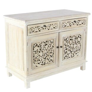 Suncrest Rustic Mahogany Wood Carved Floral 2 Door Accent Cabinet