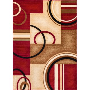 Daniel Red Arcs Shapes Area Rug